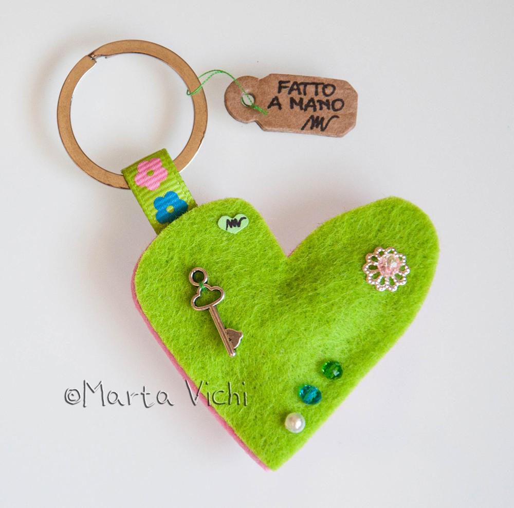 Portachiavi cuore double verde-rosa