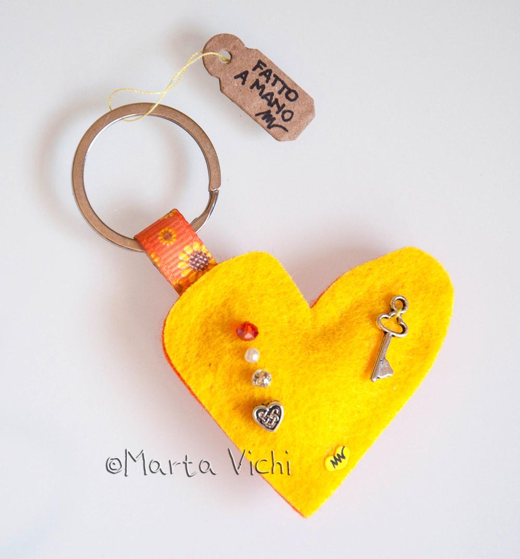 Portachiavi cuore double giallo-arancione