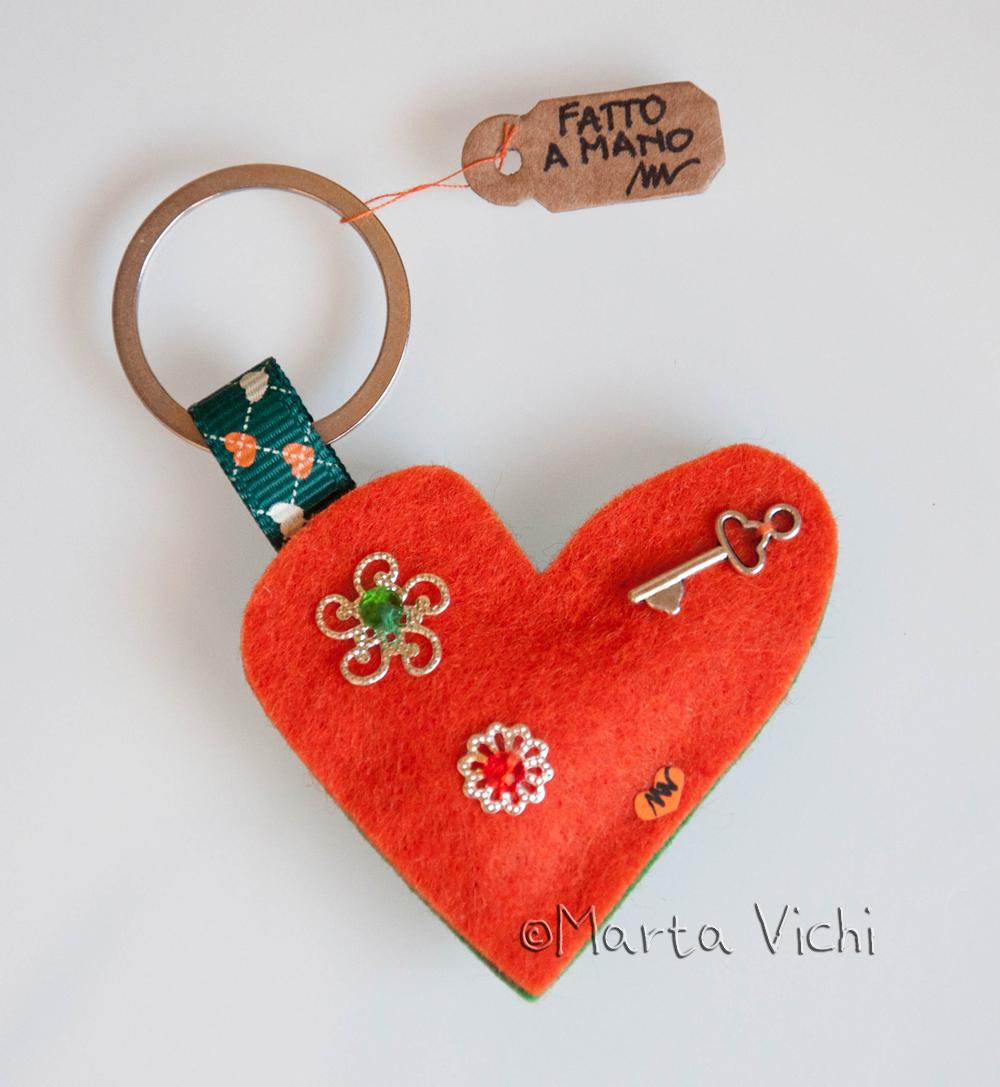 Portachiavi cuore double arancione-verde