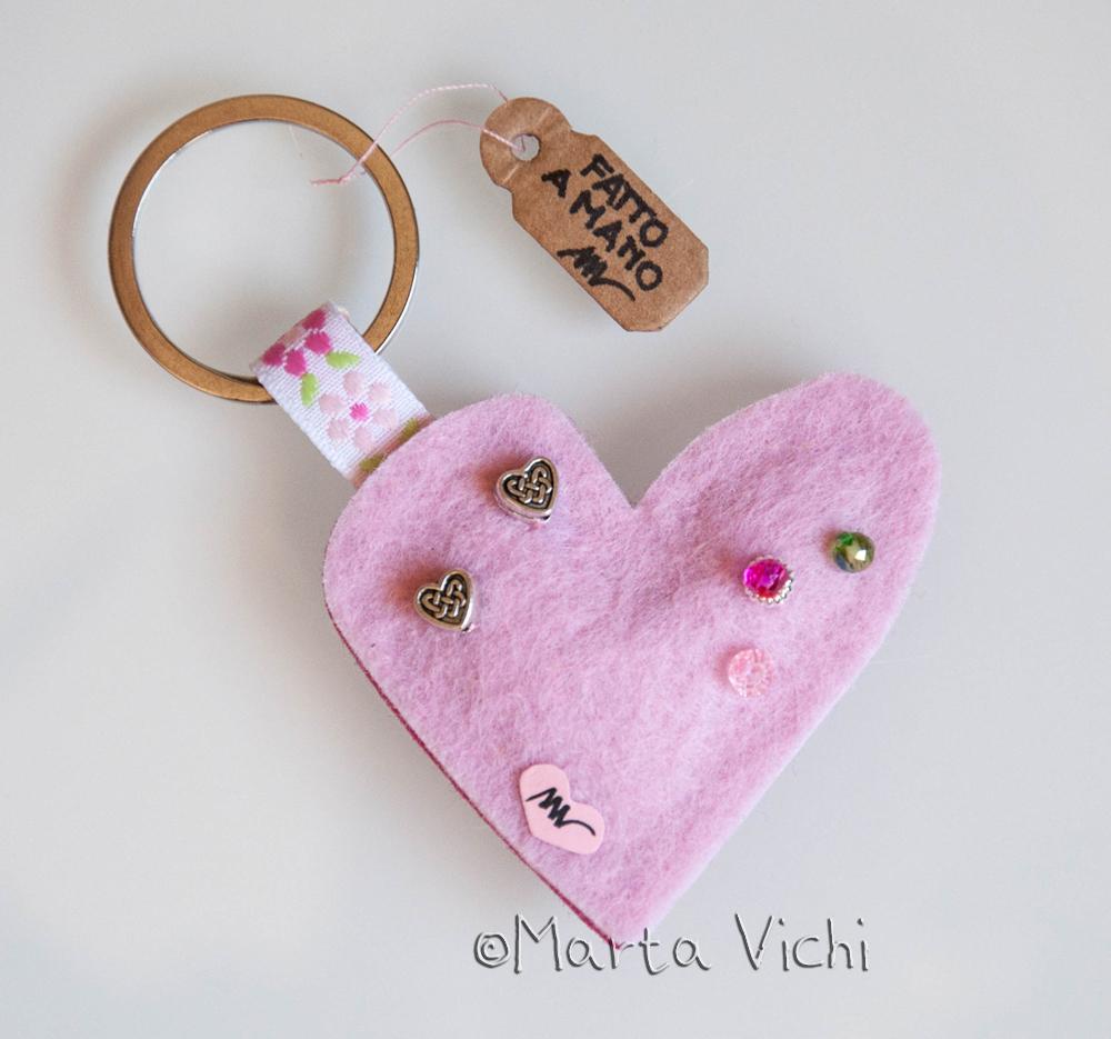Portachiavi cuore double rosa-fucsia