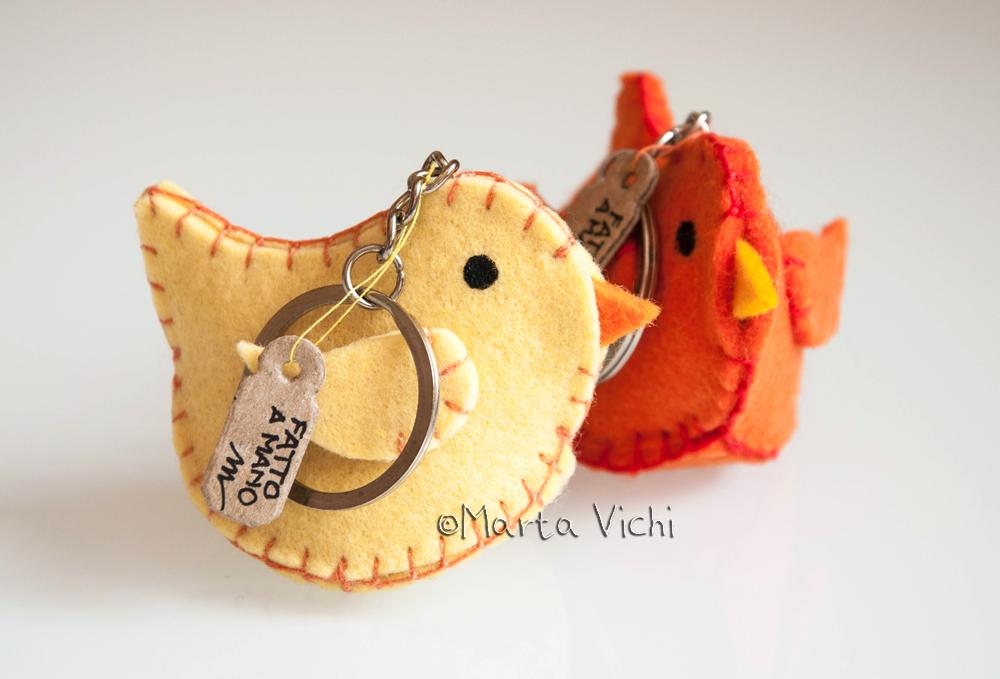 Uccellini giallo e arancione portachiavi